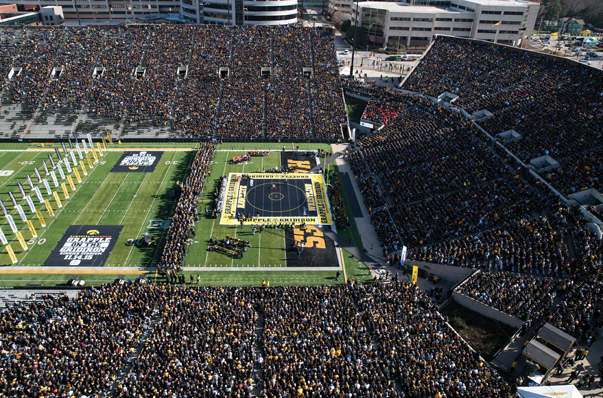 The Grapple on the Gridiron wrestling event between the Iowa and Oklahoma State universities at Iowa City's Kinnick Stadium set the NCAA wrestling attendance record. Photo courtesy of Brian Ray