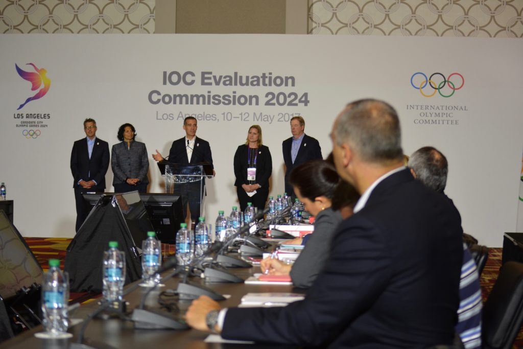 LA Mayor Eric Garrett addressing IOC Evaluation Commission